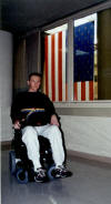Me in my electic chair near the 30'x50' US flag.